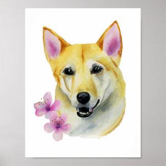 Shiba Inu with Sakura Watercolor Painting Poster