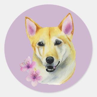 Shiba Inu with Sakura Watercolor Painting Round Sticker