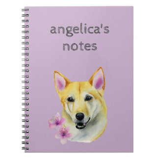 Shiba Inu with Sakura Watercolor Painting Spiral Note Books