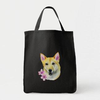 Shiba Inu with Sakura Watercolor Painting Tote Bag