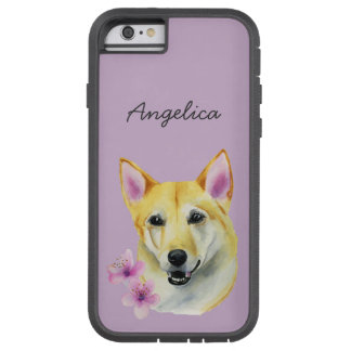 Shiba Inu with Sakura Watercolor Painting Tough Xtreme iPhone 6 Case