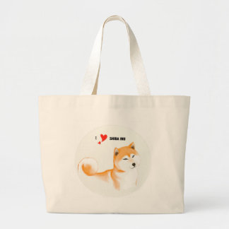 Shiba stock market inu large tote bag