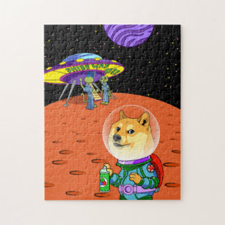 Shibe Doge Astro and the Aliens Memes Cats Cartoon Jigsaw Puzzle