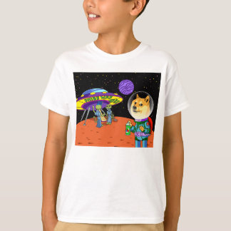 Shibe Doge Astro and the Aliens Memes Cats Cartoon T-Shirt