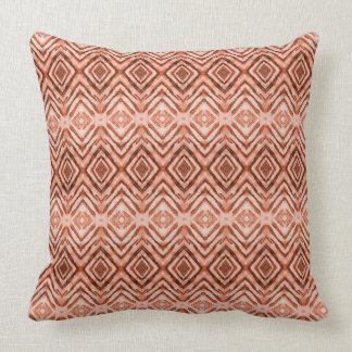 Shibori Diamonds Rust Orange Pattern Throw Pillow