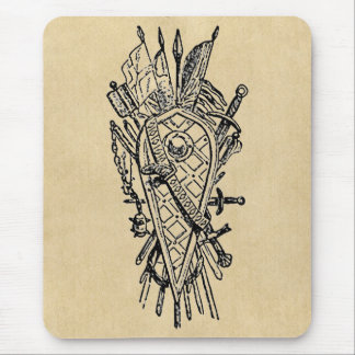 Shield and Sword Fencing Logo Mouse Pad