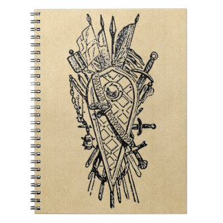 Shield and Sword Fencing Logo Notebooks