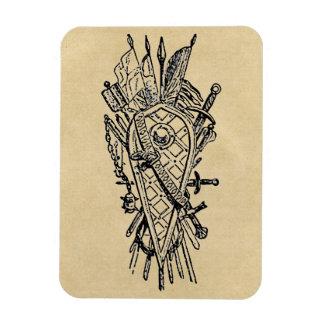 Shield and Sword Fencing Logo Rectangular Photo Magnet