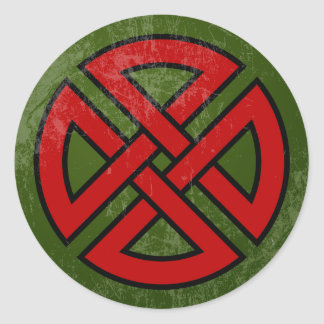 Shield Knot (Celtic, red & black on green) Classic Round Sticker