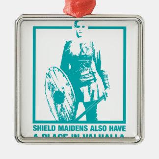 Shield Maidens Also Have A Place In Valhalla Silver-Colored Square Ornament