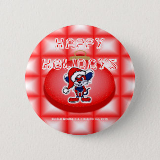 SHIELD MOUSE Happy Holidays Button