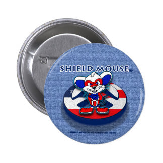 SHIELD MOUSE Patriotic Peace (Blue Jean) Button