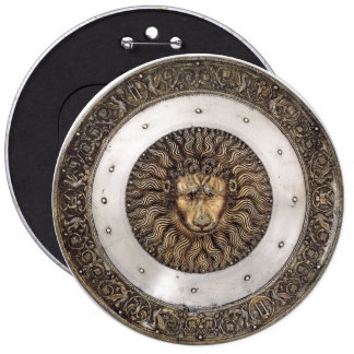 Shield of lion 6 inch round button