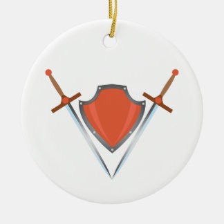 Shield Swords Ceramic Ornament