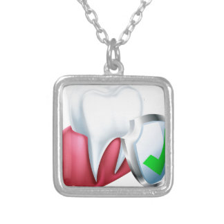 Shield Tooth and Gum Silver Plated Necklace