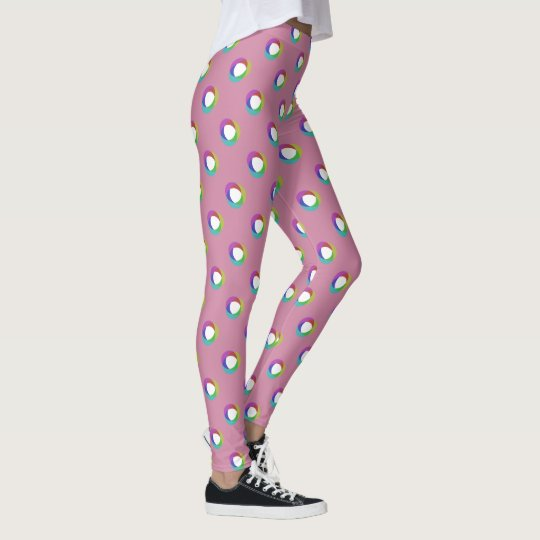 Shifted Pastel Polka Dots Larger Pattern Cust Pink Leggings