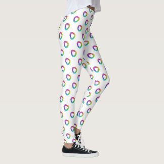 Shifted Pastel Polka Dots Largr Pattern Cust White Leggings