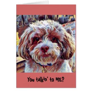 Shih-Poo Shih Tzu Dog Whimsical Artistic Puppy Card
