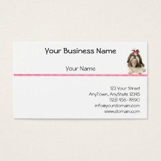 Shih Tsu with Pink Bow on Pink Diamond border Business Card
