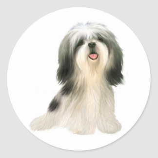 Shih Tzu (3) - illustrated Round Sticker