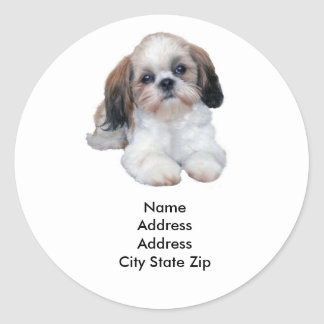 Shih Tzu Address Label Round Sticker