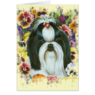 Shih Tzu and Pansies Art Print Card