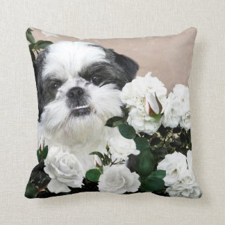 Shih Tzu and roses Throw Pillow