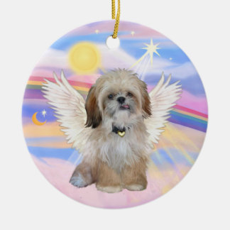 Shih Tzu Angel in Heaven's Clouds Round Ceramic Ornament