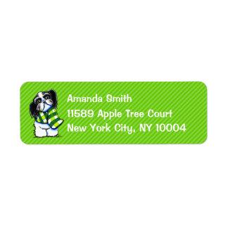 Shih Tzu B/w Scarf Winter Green Stripe Custom