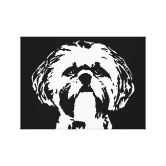 Shih Tzu Black & White Wrapped Canvas Print