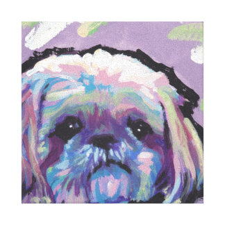 Shih Tzu Bright Colorful Pop Dog Art Canvas Print