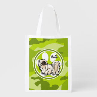 Shih Tzu; bright green camo, camouflage Reusable Grocery Bag