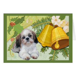 Shih Tzu Christmas Card Bells