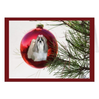 Shih Tzu Christmas Card Ornament