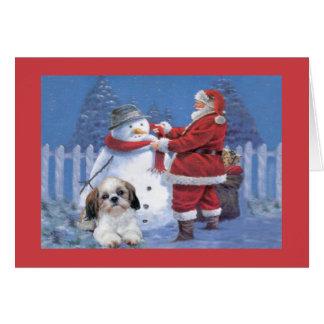 Shih Tzu Christmas Card Santa and Snowman