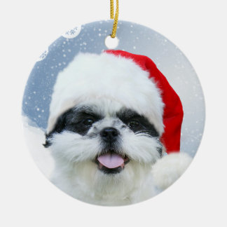 Shih Tzu Christmas Ceramic Ornament