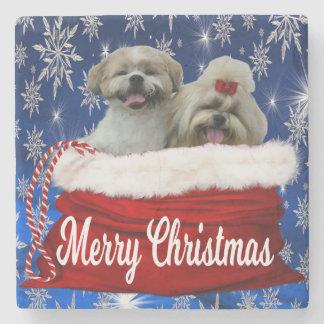 Shih tzu Christmas Coaster, Shihtzu Stone Coaster