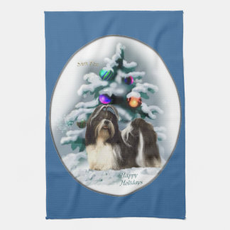 Shih Tzu Christmas Hand Towel