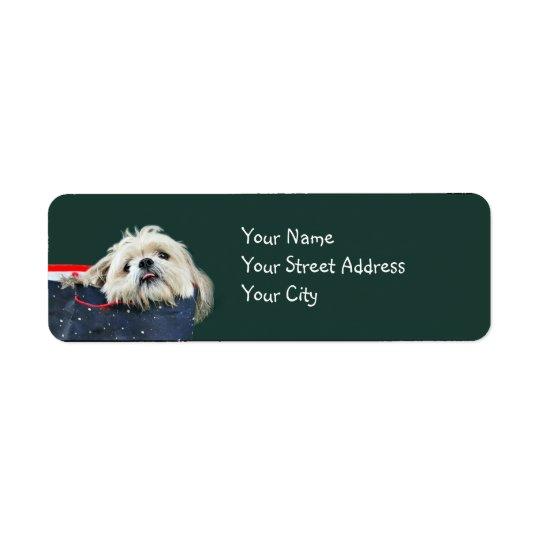 Shih Tzu Christmas Return Address Label