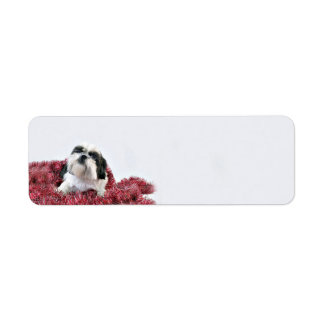 Shih Tzu Christmas Return Address Label