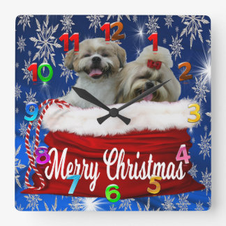 Shih tzu Clock Christmas