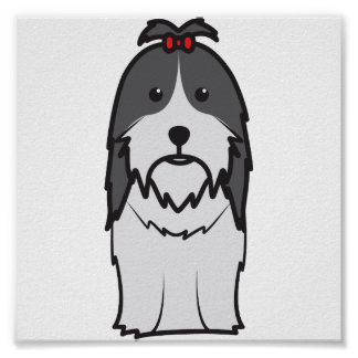 Shih Tzu Dog Cartoon Poster