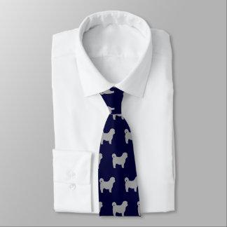 Shih Tzu Dog Silhouettes Pattern Tie