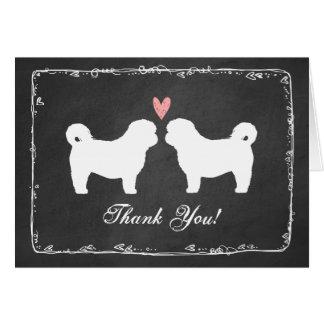 Shih Tzu Dog Silhouettes Wedding Thank You Card