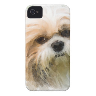 Shih Tzu Dog Water Color Art Painting iPhone 4 Case-Mate Case