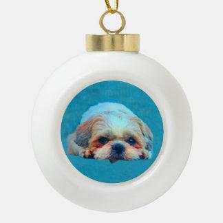 Shih Tzu Dog Water color art Portrait Ceramic Ball Christmas Ornament