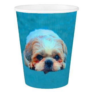 Shih Tzu Dog Water color art Portrait Paper Cup