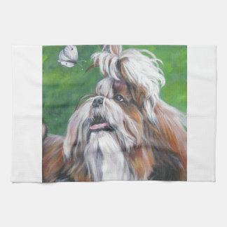 shih tzu fine art dog painting kitchen towel