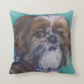 shih tzu fine art dog painting throw pillow
