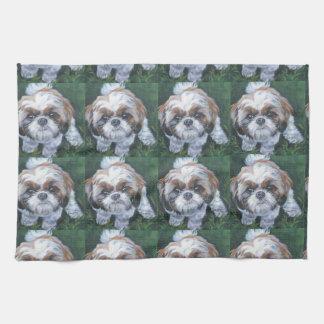 shih tzu fine art dog painting towel